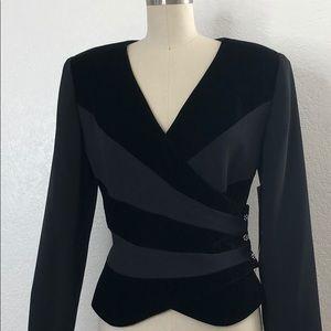 New VTG REGGIO black velvet evening 80s jacket 8